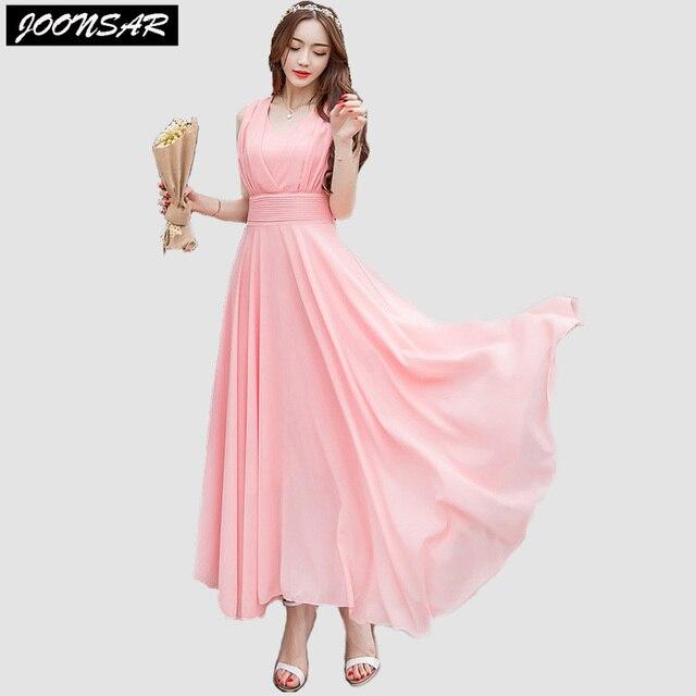 6bfdfec63e78 Hot Summer Bohemian Dress Sleeveless Tank O-Neck Ankle-Length Ruffles Solid  Flare Chiffon Dress One-Piece Fashion Women Clothing