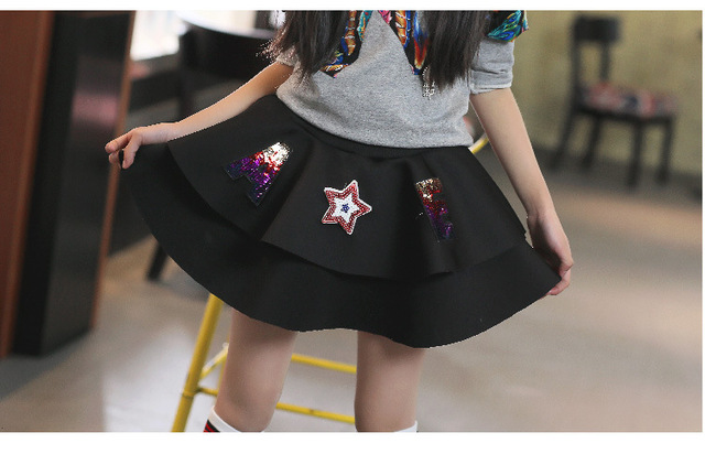 Diamond Girls Spring Kids Clothing Cartoon Embroidery Skirts Black