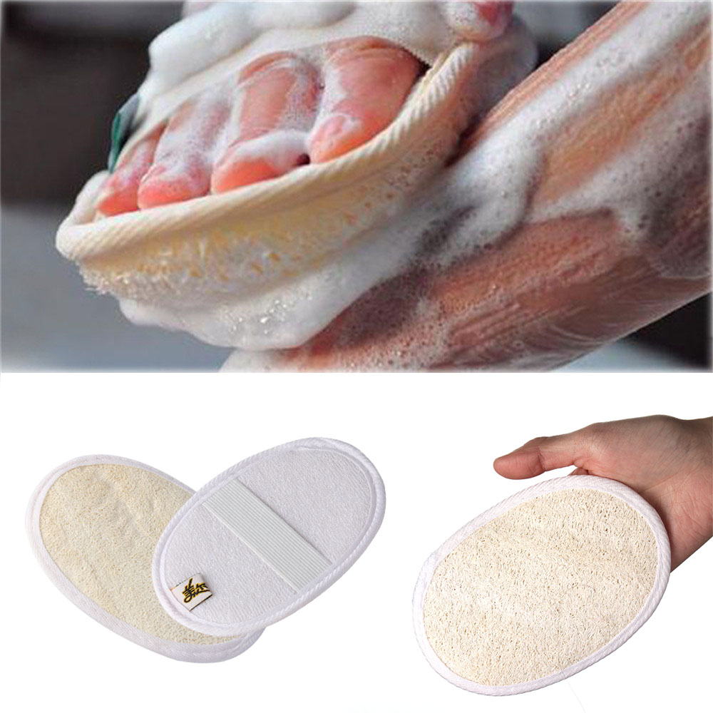 1pc Natural Exfoliating Loofah Sponge Strap Handle Shower Massage Brush Skin Body Clean Care Bathing Washing Accessories