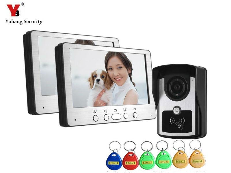 Yobang Security 700 TVL TFT LCD Monitor Video Door Phone Visible Doorbell Intercom Kit RFID Access Camera For Home Surveillance