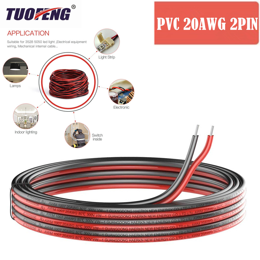 2pin Extension Cable Wire Cord <font><b>20awg</b></font> Electrical Wire Cable 2 Conductor Parallel Wire line <font><b>UL1007</b></font> Strands Tinned copper wire image