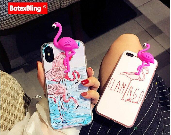 BotexBling 3D cute flamingo painted soft TPU silicone case for iphone 7 7plus X 8 8plus 6 6s plus 6plus S8 s8Plus cover