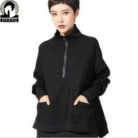 2019 Bat Sleeve Pullovers New female spring casual Solid color Short front length of garment women hoodies o neck Sweatshirts