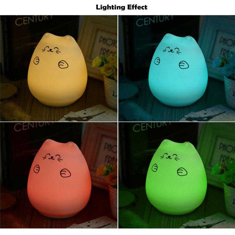 Popular LED USB recargable lindo gato noche luz colorido silicona dormitorio golpe lámpara 12 horas en modo de cambio de color