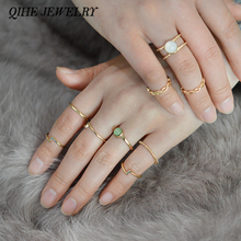 QIHE Jewelry 9pcs/set Tiny Smooth Moonstone Gold Color Midi Ring Stackable Rings Set Modern Jewelry Gift For Her