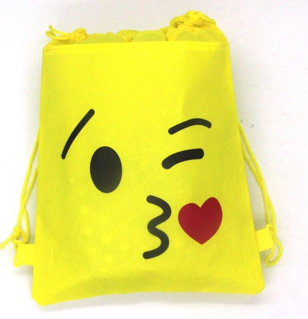 1pcs Lot Emoji String Bags Baby Shower Party Supplies Theme Drawstring Kids Back