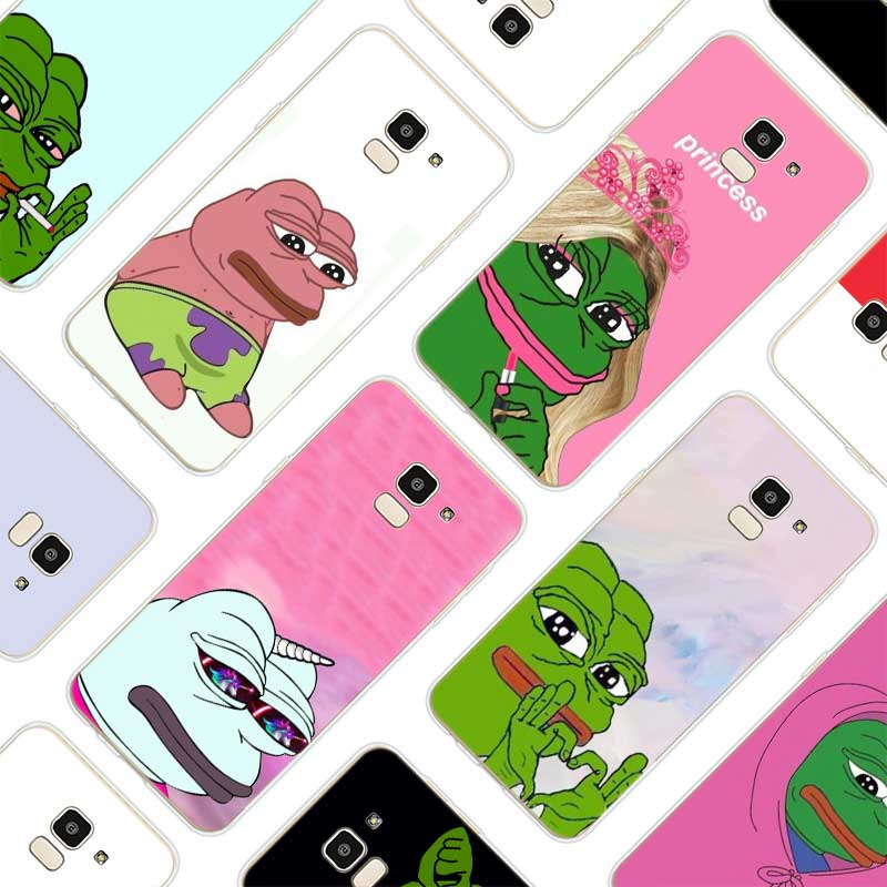 Silicone Soft Phone Case Pepe Memes Sad Frog For Samsung Galaxy j8 j7 j6 j5 j4 j3 Prime Plus 2018 2017 2016 image