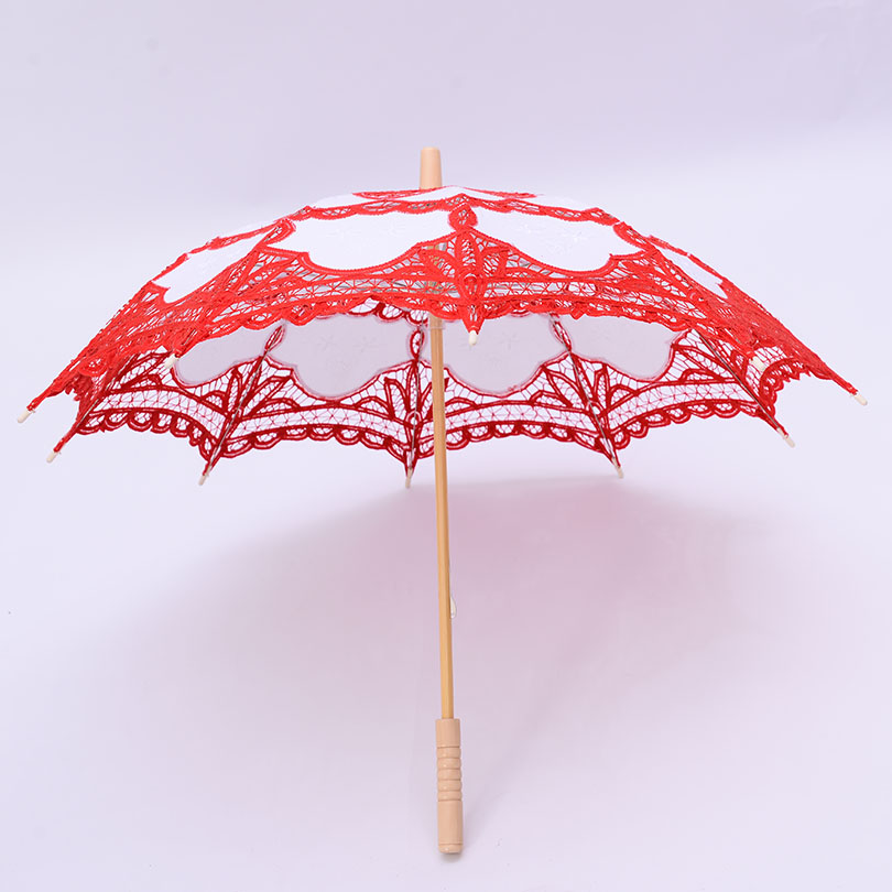 QUNYINGXIU Decoration Wedding Craft Lace Red Umbrella Cotton Photography Umbrella Props East Asia style Embroidery Umbrella