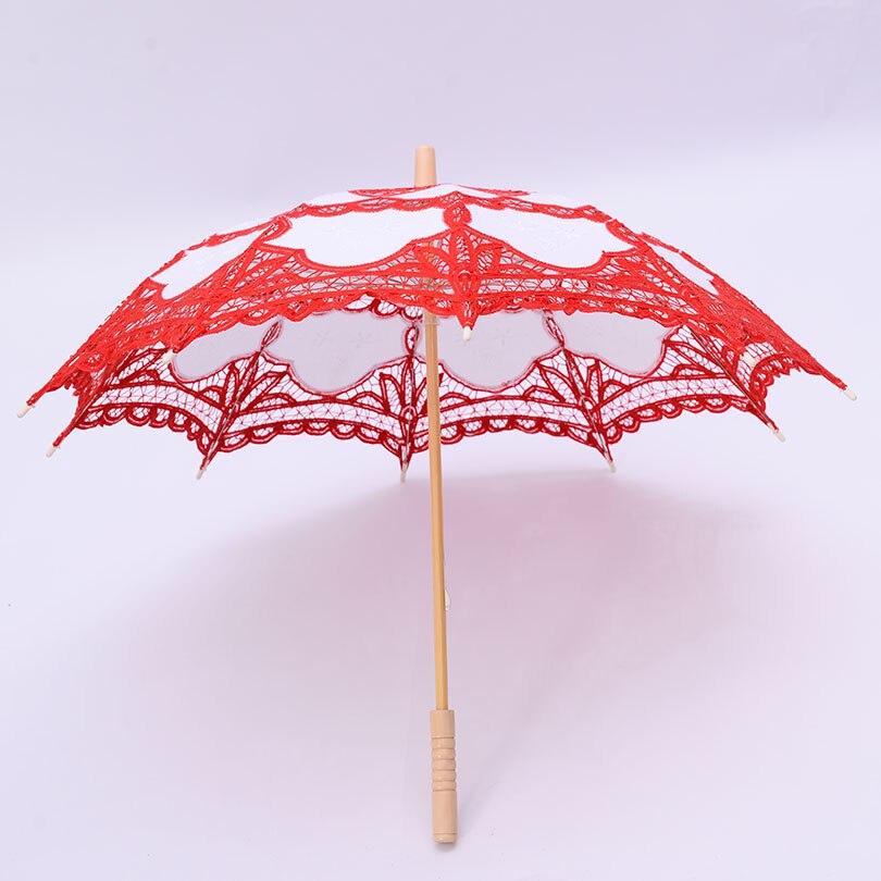 QUNYINGXIU Decoration Wedding Craft Lace Red Umbrella Cotton Photography Umbrella Props East Asia style Embroidery Umbrella