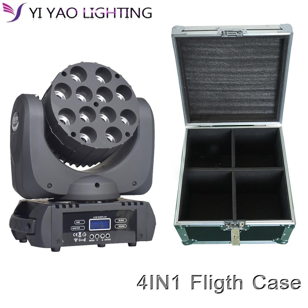Flight Case 4pcs/lot 12X12W moving head beam RGBW 4in1 dmx512 professional stage dj equipment Stage Lighting Effect     - title=