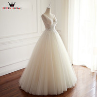 Custom Made A Line Beading Lace Tulle Flowers Sexy Elegant Romantic Long Wedding Dresses Bridal Marriage