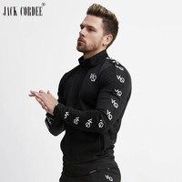 JACK CORDEE 2018 Camisolas Dos Homens Casuais Carta Impressão Zipper Bolso Design Preto Da Aptidão Sportwear Respirável Casacos Camisola
