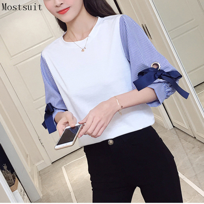 Spring Autumn Cotton Striped Shirt Tops Fake Two Pieces Bow Patchwork Casual Pullovers Office Korean Plus Size Shirt Blusas 2018