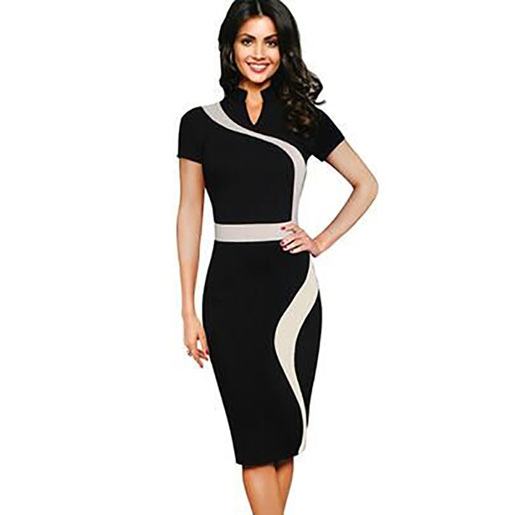 Womens Green Black Vintage Contrast Colorblock Slimming Wear To Work Office Business Casual Party Pencil Sheath
