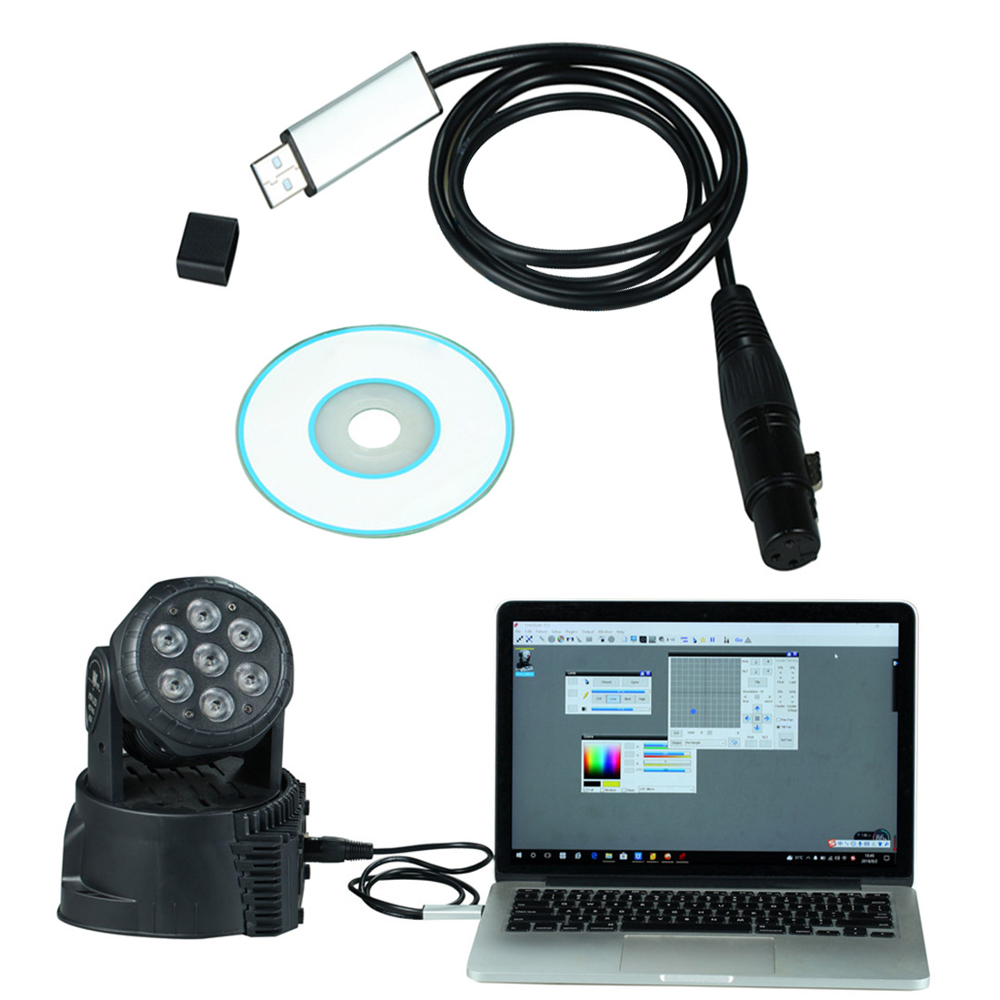 DMX USB Signal Conversion USB To DMX Interface Adapter Cable 110cm Length Stage Light PC DMX512 Controller Dimmer