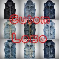 Custom Logo Print Big Size Ripped Cowboy Waistcoat Male Sleeveless Jean Jacket Denim Vest Men 5XL