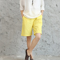 Women shorts summer big size new original cotton and linen elastic waist loose  linen big shorts