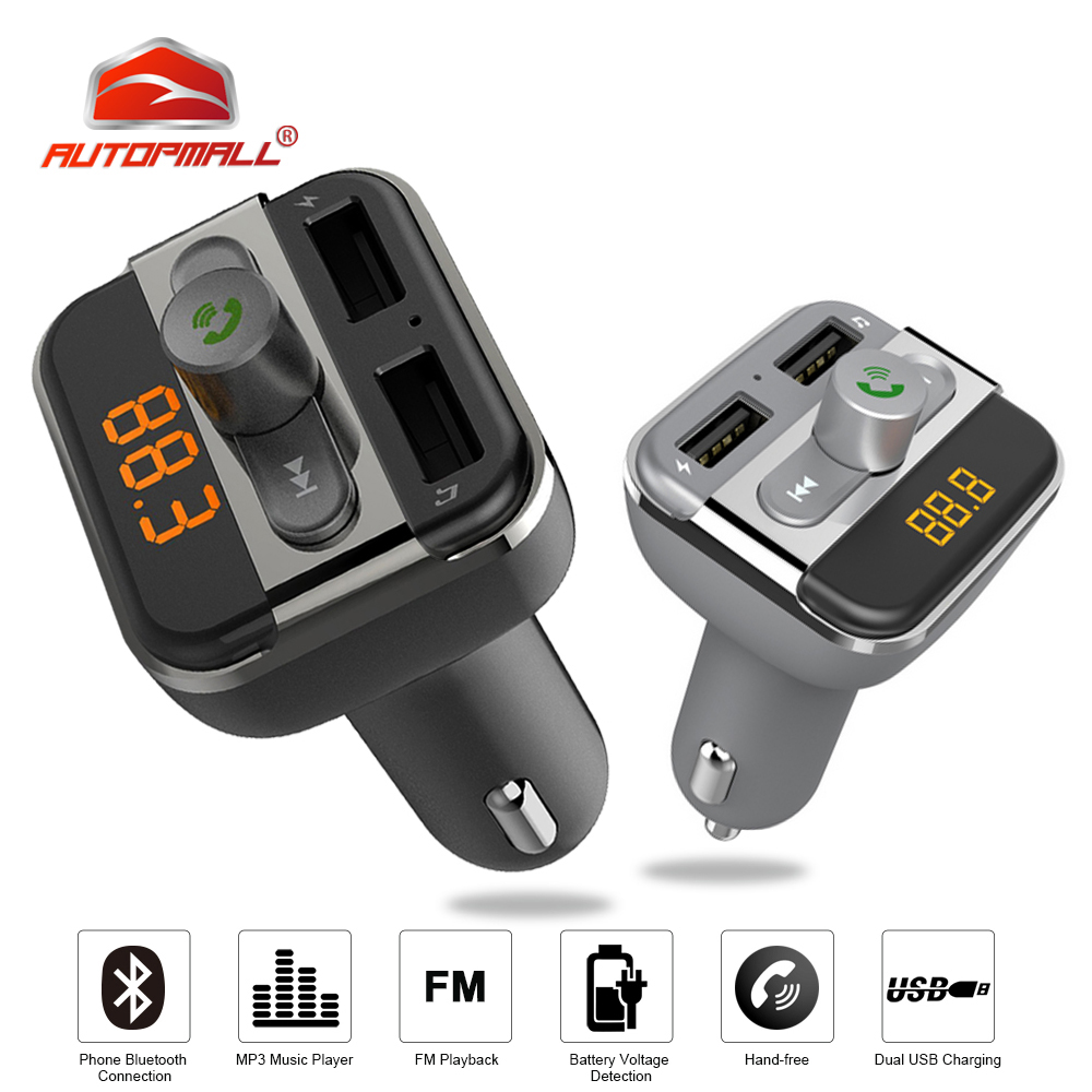Bluetooth Hands free Car Kit FM Transmitter Bluetooth Car 3 4A USB Car Charger Built in Microphone With Micro SD Card Slot BT20 in FM Transmitters from Automobiles Motorcycles