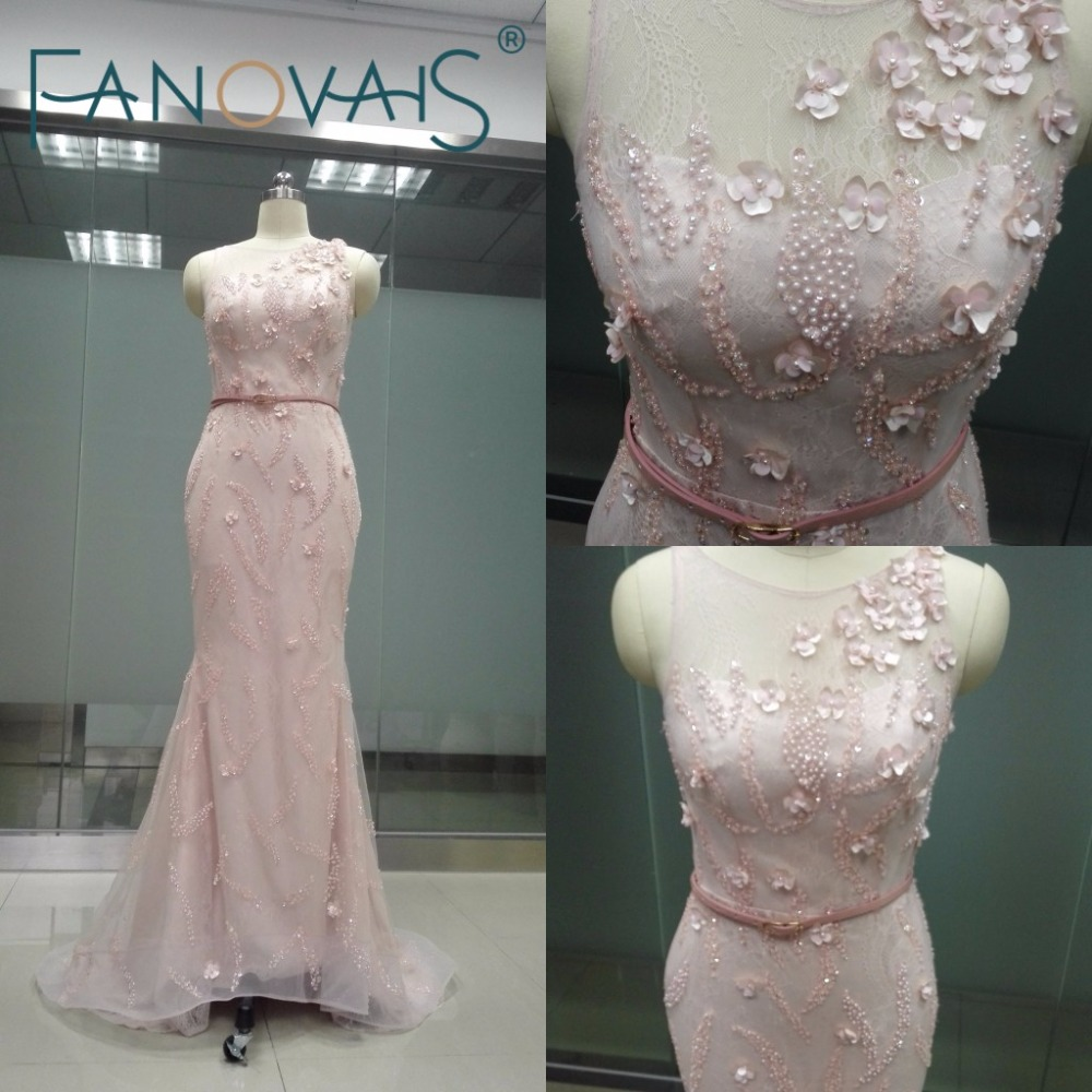 Blush Pink Arabic Style Lace Bodycon Formal Dress Evening Gown women ...