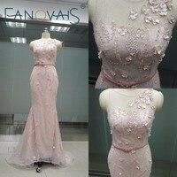 Blush Roze Arabische Stijl Kant Bodycon Formele Avondjurk vrouwen corset Avondjurk voor senioren party jurken lange