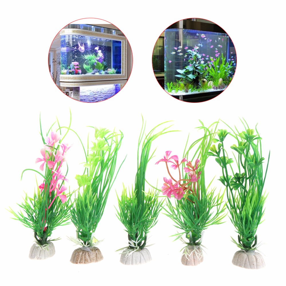 Design Artificial Plastic Aquarium Plants Grass Background Fishtank Decoration