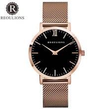 REOULIONS Minimalista de Primeras Marcas de Lujo Reloj de Oro Rosa Relojes de Las Mujeres de Malla de Banda Casual de Las Señoras de Cuarzo Reloj de pulsera Relogio Feminino