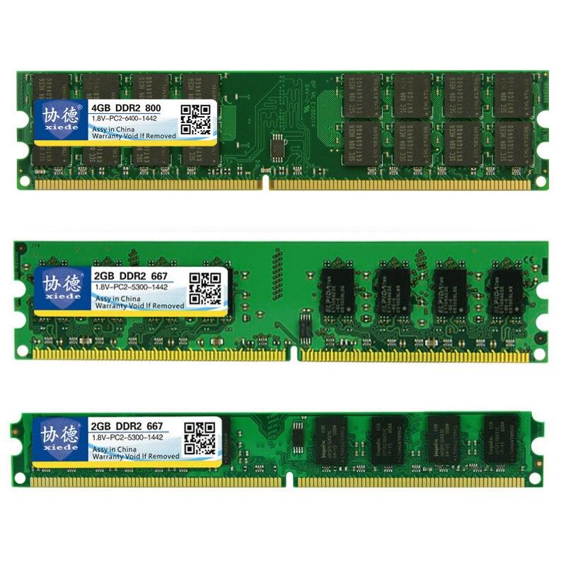 Gros Xiede DDR2 800/PC2 6400 5300 4200 1 GB 2 GB 4 GB PC de bureau Mémoire RAM Compatible DDR 2 667 MHz/533 MHz Multiples Modèles