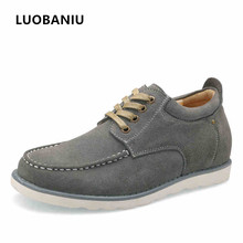 Мужская обувь из натуральной кожи повседневные увеличивающие Рост 4 cm оксфорды мужские сезон: весна–лето Мужская обувь черный
