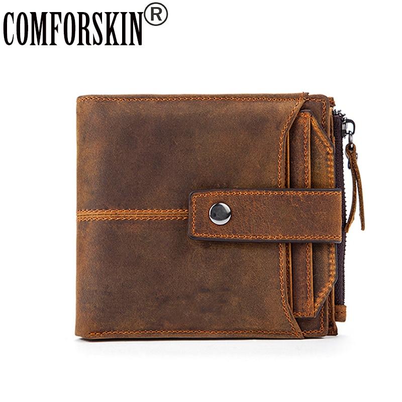 COMFORSKIN Detachable Card Slots Brand Business Men Wallet Genuine Leather Cowhide Vintage Design Multi-Card Bit Mens Wallets