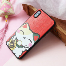 Lucky cats beautiful mobile phone shell For iphone6 7 8 x xmax painted TPU silicone all-inclusive soft