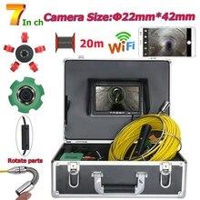 7 дюймов 22 мм WiFi беспроводной DVR Труба инспекционная видеокамера, 20 м IP68 Водонепроницаемая дренажная труба канализационная Инспекционная камера система 1000 T