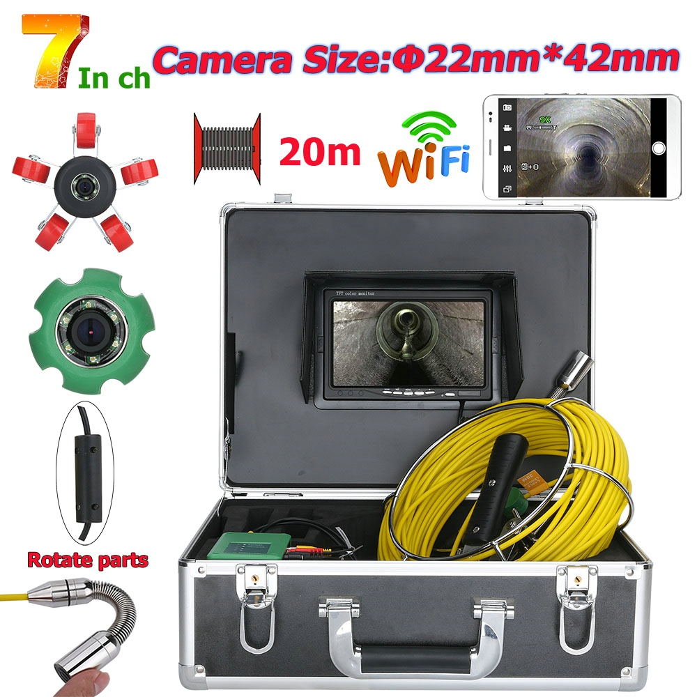 7inch 22mm WiFi Wireless DVR Pipe Inspection Video Camera, 20M IP68 Waterproof Drain Pipe Sewer Inspection Camera System  1000 T