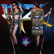 Nightclubs bars Women DJ singers dancers DS costumes, Hot New yellow and black geometric patterns fashion three-piece suits B044