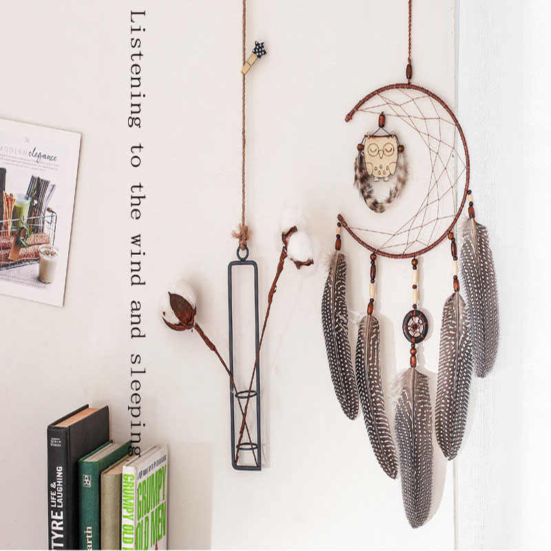 Scandinavian Style Owl Dream catcher Ornaments Room Pendant Filter Monternet Gift Car Home Wall Bedroom Hanging Decor Ornament