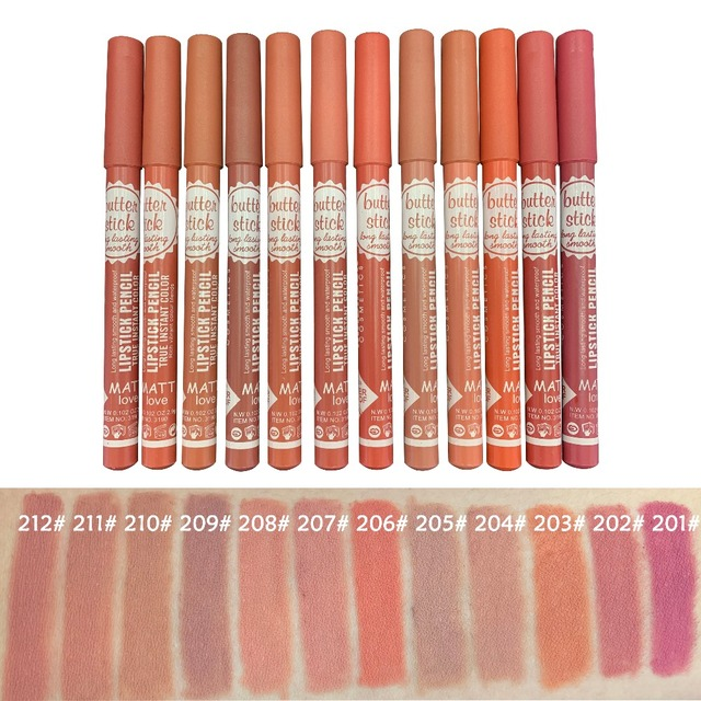 3pcs Lipstick Pencil Waterproof Long Lasting 12 colors Matte Glitter Lip Liner Makeup Cosmetics