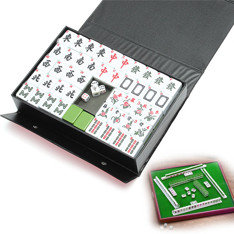 Entertainment Fun Family Board Games Gfits Top 144 Tiles Portable Chinese MahJong Rare Game Set Retro Mah Jong + Custom Fit Box