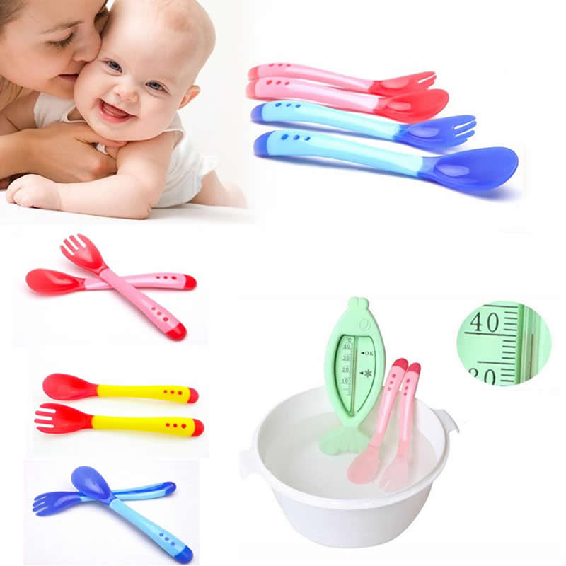 New Baby Tableware Silicone Thermal Heat Sensing Temperature Feeding Fork Spoon