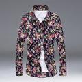 Camisas Ocasionales de los hombres Camisas de Manga Larga Floral Delgado Impreso Camisa de Los Hombres