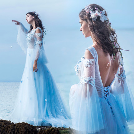 100% real sea fairy cosplay court long medieval dress Renaissance Gown princess cosplay Victorin/Marie Antoinette bell ball gown
