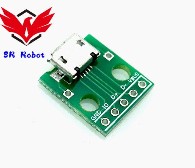 Micro USB zu DIP Adapter 5 Pin PCB Konverter Arduino Raspberry Pi