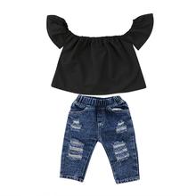 Fashion Newborn Toddler Kids Girl Clothes Off shoulder Black T-shirt Tops+Ripped Jean Hole Denim Pant Trouser 2PCS Clothing Set