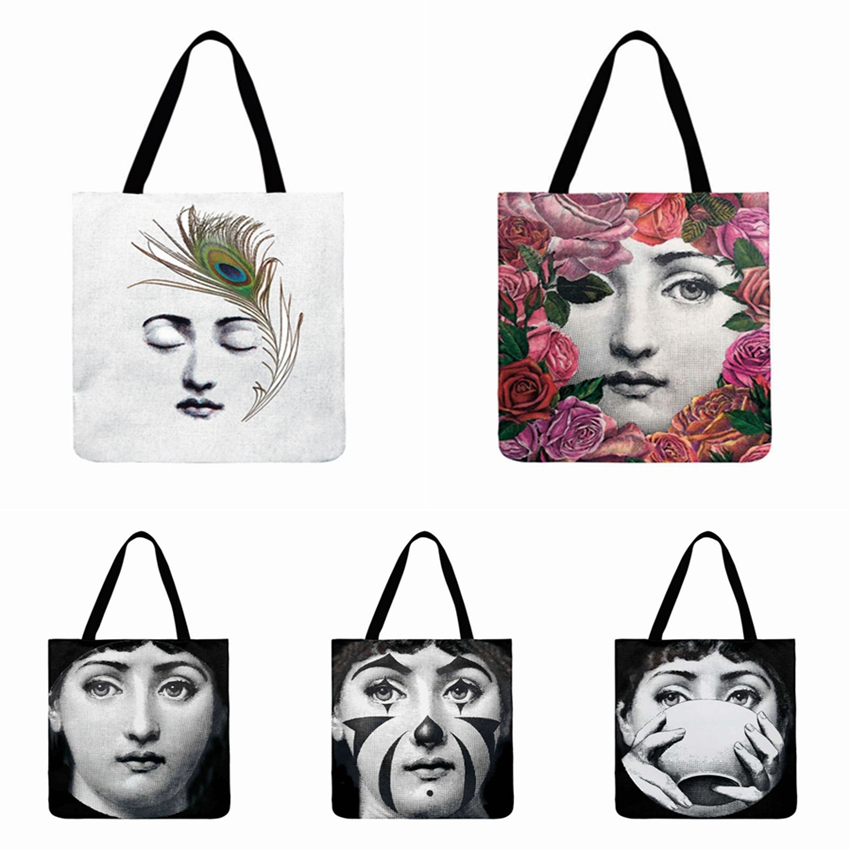 Fornasetti Face Girl Printed Tote Bag For Women Foldable Shopping Bag Ladies Shoulder Bag Outdoor Casual Beach Bag