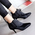Nova moda Das Mulheres de alta-salto alto botas Apontado cabeça ankle boots Preta do cabelo do Cavalo botas curtas femininos Tacones Mujer boty