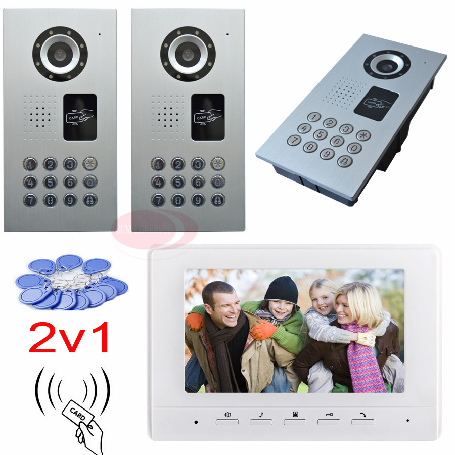 2v1Video door phone intercom rfid password unlock 2 waterproof ip65 ccd outdoor cameras night vision 7inch color indoor monitor 7inch 2 4ghz wireless intercom unlock video door phone with 3camera