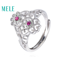 MELE natural ruby 925 syerling silver rings for women,1.8mm round cut 0.04ct 2piece gemstone fashion and classical fine jewelry