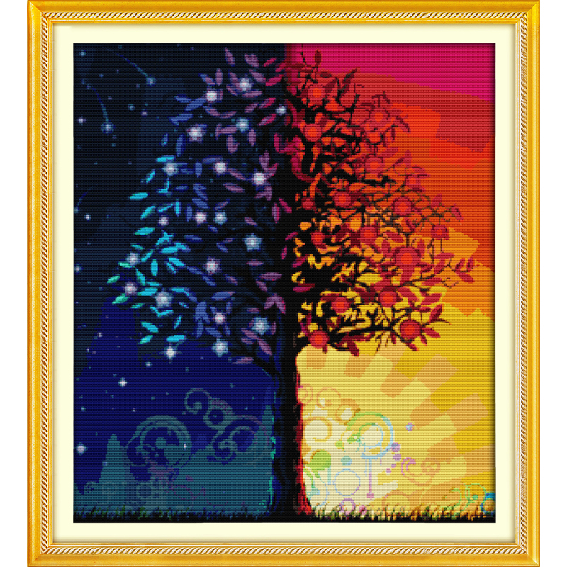 Everlasting love Christmas Colour life tree Ecological cotton Chinese cross stitch kits counted stamped 11 CT 14 CT New year in Package from Home Garden