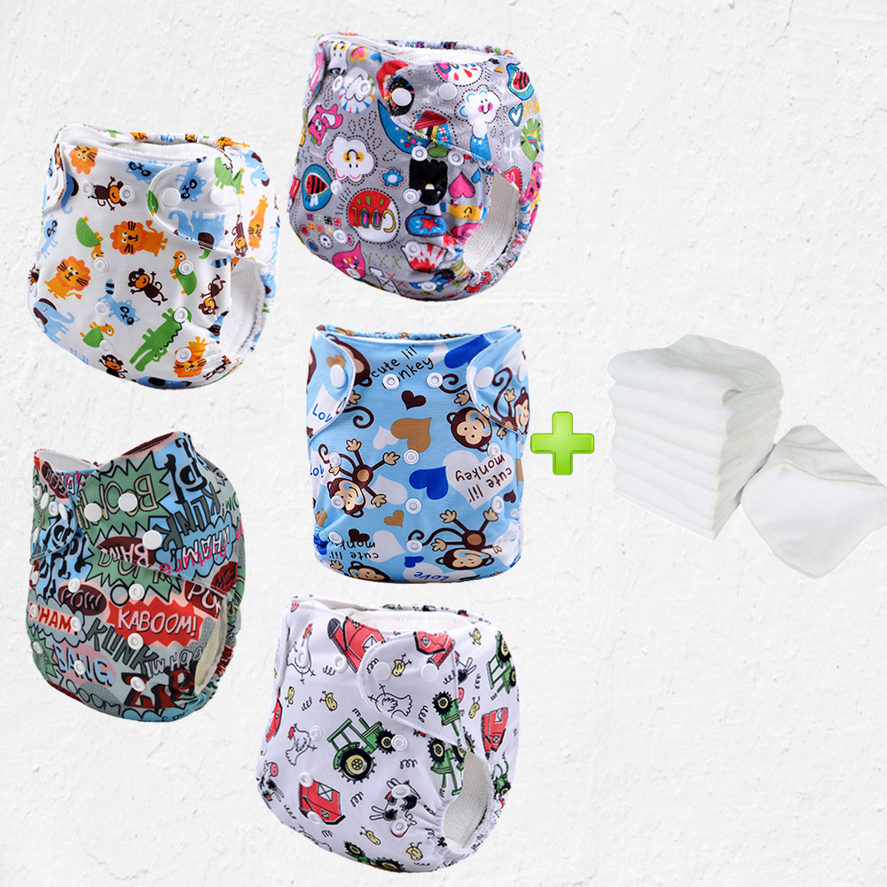 Baby Diapers Washable Reusable Cloth Nappies 3 Layers Merries New Born 24 S Diaper Insert Super Absorbency Microfiber Nappy5sets In From Mother Kids