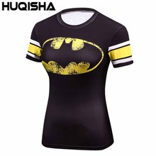 Female Casual T Shirt Superhero Women Superman/Captain America Batman Shirts Bodybuilding Compression Tops