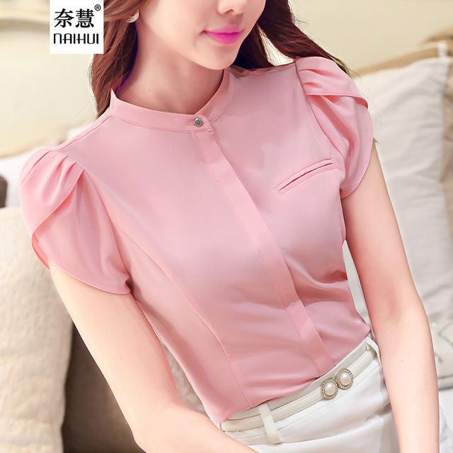 478c9186ff8ef8 Fashion style Women Blouses Stand collar Short Sleeve Blusas Solid Slim Women  office wear Shirt Tops