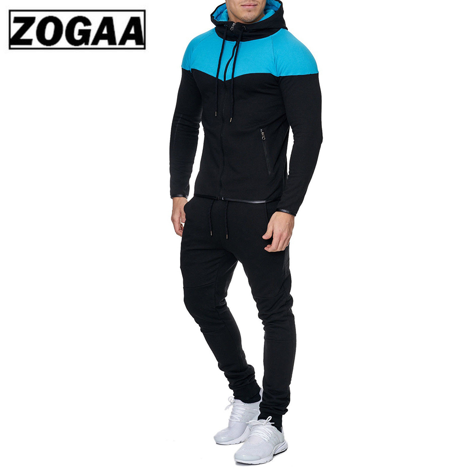 ZOGAA 2019 New Men 2 Parts Sporting Suit Hoodies Sets Mens Gyms Sportswear Jogger Suit Male Tracksuit Sets Gym Sweat Suit